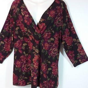 Chaps Plus Size 2X Floral Print Knit Top